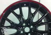 Mini Custom Alloy Wheel Refurbishment Black with Red Rim