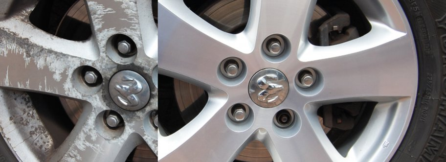 Corroded alloys, before and after a refurbishment.